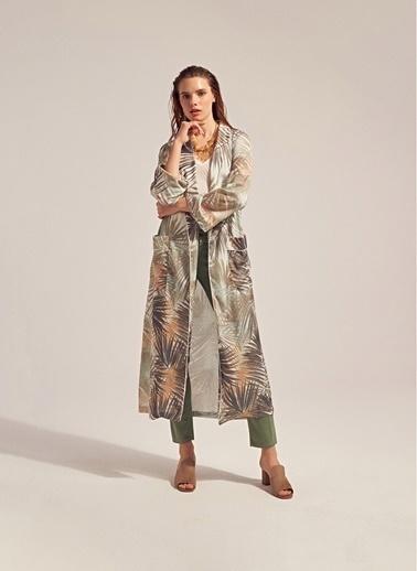Monamoda Palmiye Baskılı Saten Kimono Ceket Haki